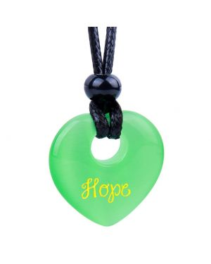 Magic Inspirational Lucky Heart Donut Charm Hope and Love Powers Neon Green Simulated Cats Eye Necklace