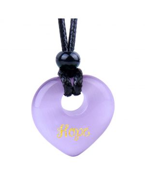 Magic Inspirational Lucky Heart Donut Charm Hope and Love Powers Cute Purple Simulated Cats Eye Necklace