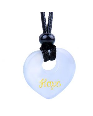 Magic Inspirational Lucky Heart Donut Charm Hope and Love Powers White Simulated Cats Eye Necklace