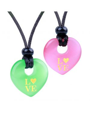 Inspirational Heart Donut Amulets Love Powers Couples BFF Green Pink Simulated Cats Eye Necklaces