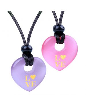 Inspirational Heart Donut Amulets Love Powers Couples BFF Pink Purple Simulated Cats Eye Necklaces