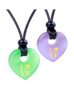 Inspirational Heart Donut Amulets Love Powers Couples BFF Green Purple Simulated Cats Eye Necklaces