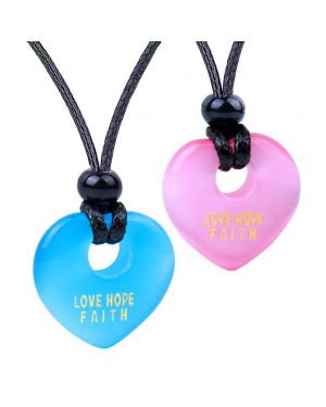 Inspirational Heart Donut Amulet Love Hope Faith Powers Couples BFF Blue Pink Simulated Cat Eye Necklaces