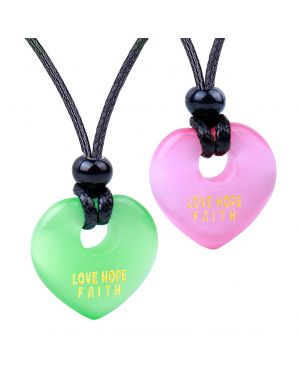 Inspirational Heart Donut Amulet Love Hope Faith Powers Couple BFF Green Pink Simulated Cat Eye Necklaces