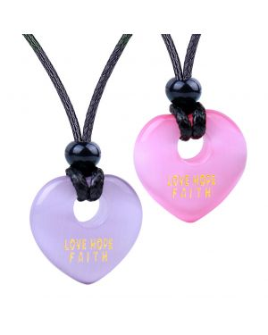 Inspirational Heart Donut Amulet Love Hope Faith Power Couple BFF Pink Purple Simulated Cat Eye Necklaces