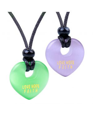 Inspirational Heart Donut Amulet Love Hope Faith Powers Couples Purple Green Simulated Cats Eye Necklaces