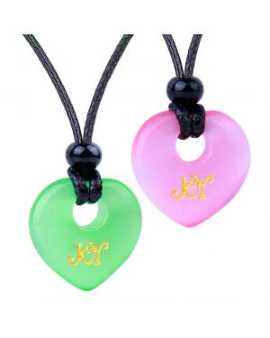 Inspirational Heart Donut Amulets Joy and Love Powers Couples BFF Green Pink Simulated Cats Eye Necklaces