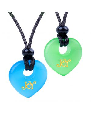 Inspirational Heart Donut Amulets Joy and Love Powers Couples BFF Green Blue Simulated Cats Eye Necklaces