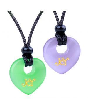 Inspirational Heart Donut Amulets Joy and Love Power Couples BFF Purple Green Simulated Cat Eye Necklaces