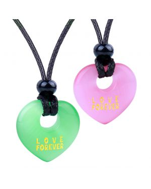 Inspirational Heart Donut Amulets Love Forever Powers Couples BFF Green Pink Simulated Cats Eye Necklaces