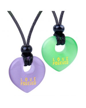 Inspirational Heart Donut Amulets Love Forever Powers Couple BFF Green Purple Simulated Cat Eye Necklaces