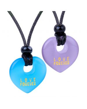 Inspirational Heart Donut Amulets Love Forever Powers Couples BFF Blue Purple Simulated Cat Eye Necklaces