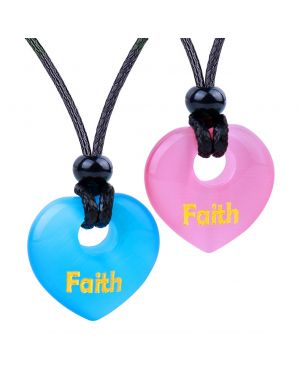 Inspirational Heart Donut Amulets Faith Love Powers Couples BFF Blue Pink Simulated Cats Eye Necklaces