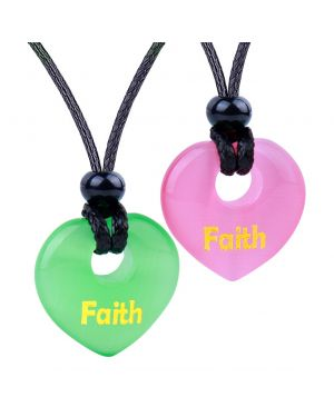 Inspirational Heart Donut Amulets Faith Love Powers Couples BFF Green Pink Simulated Cats Eye Necklaces
