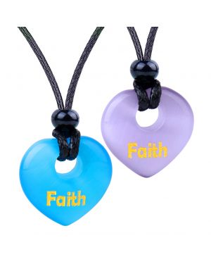 Inspirational Heart Donut Amulets Faith Love Powers Couples BFF Blue Purple Simulated Cats Eye Necklaces
