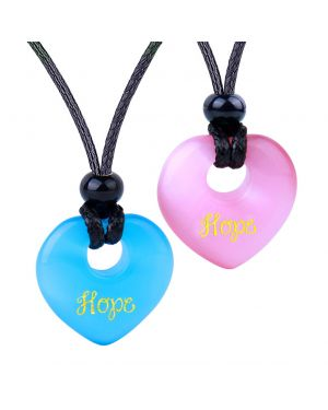 Inspirational Heart Donut Amulets Hope Love Powers Couples BFF Blue Pink Simulated Cats Eye Necklaces