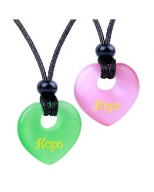 Inspirational Heart Donut Amulets Hope Love Powers Couples BFF Green Pink Simulated Cats Eye Necklaces
