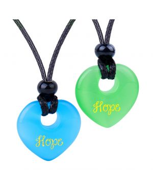 Inspirational Heart Donut Amulets Hope Love Powers Couples BFF Green Blue Simulated Cats Eye Necklaces