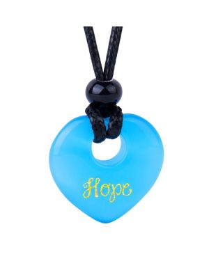 Magic Inspirational Lucky Heart Donut Charm Hope and Love Powers Sky Blue Simulated Cats Eye Necklace