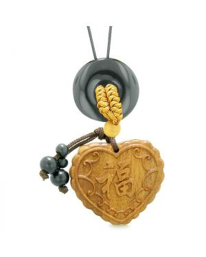 Fortune Heart Magic Car Charm or Home Decor Black Agate Lucky Coin Donut Protection Powers Amulet