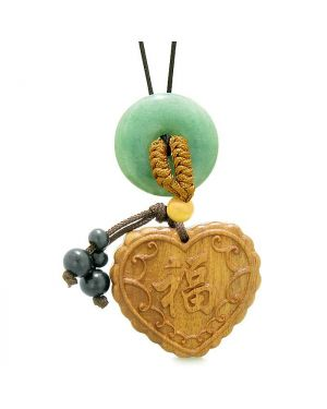 Fortune Heart Magic Car Charm or Home Decor Green Quartz Lucky Coin Donut Protection Powers Amulet