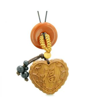 Fortune Heart Magic Car Charm or Home Decor Red Jasper Lucky Coin Donut Protection Powers Amulet