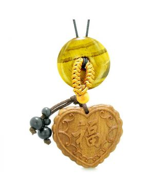Fortune Heart Magic Car Charm or Home Decor Tiger Eye Lucky Coin Donut Protection Powers Amulet