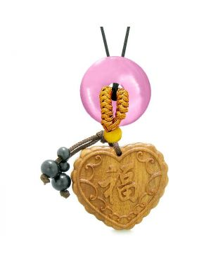 Fortune Heart Magic Car Charm Home Decor Pink Simulated Cats Eye Lucky Coin Donut Protection Amulet