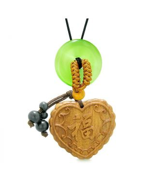 Fortune Heart Magic Car Charm Home Decor Green Simulated Cats Eye Lucky Coin Donut Amulet