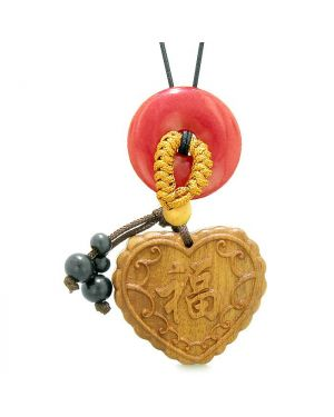 Fortune Heart Magic Car Charm Home Decor Cherry Red Quartz Lucky Coin Donut Protection Amulet