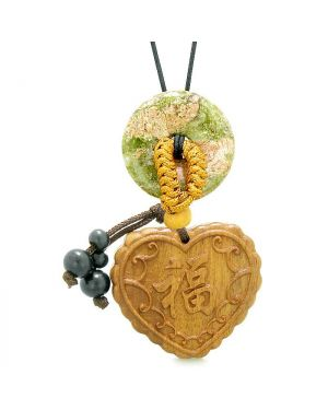 Fortune Heart Magic Car Charm or Home Decor Unakite Lucky Coin Donut Protection Powers Amulet