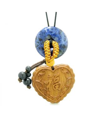 Fortune Heart Magic Car Charm or Home Decor Sodalite Lucky Coin Donut Protection Powers Amulet