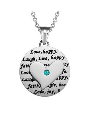Adorable Heart Inspirational Medallion Live Love Laugh Faith Amulet Mint Green Crystal 22 Inch Necklace