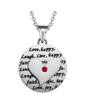 Adorable Heart Inspirational Medallion Live Love Laugh Faith Amulet Royal Red Crystal 22 Inch Necklace