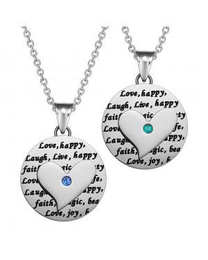 Heart Inspirational Medallions Live Laugh Love Couples or Best Friends Amulets Mint Green Blue Necklaces