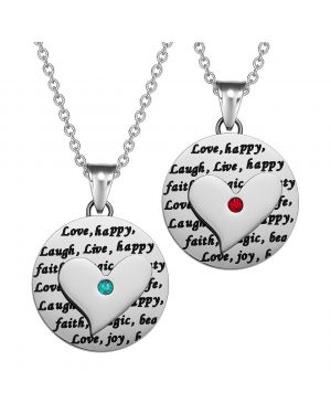 Heart Inspirational Medallions Live Laugh Love Couples or Best Friends Amulets Mint Green Red Necklaces