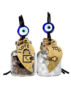 Heart Key Lock Halfs Love Couples Small Car Charms Home Decor Gem Bottles Smoky Rock Quartz Amulets
