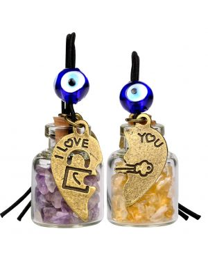 Heart Key Lock Halfs Love Couples Small Car Charms Home Decor Gem Bottles Amethyst Citrine Amulets