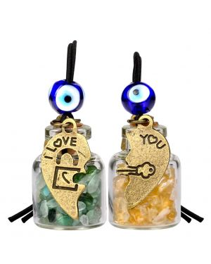 Heart Key Lock Halfs Love Couples Small Car Charms Home Decor Bottles Citrine Green Quartz Amulets