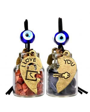 Heart Key Lock Halfs Love Couples Small Car Charms Home Decor Bottles Blue Red Goldstone Amulets