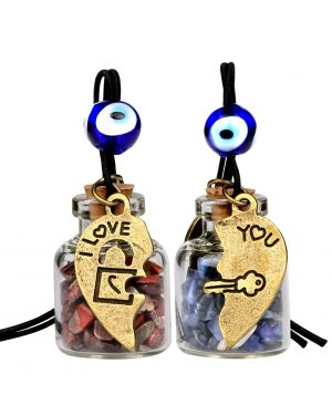 Heart Key Lock Halfs Love Couples Small Car Charms Home Decor Gem Bottles Sodalite Jasper Amulets