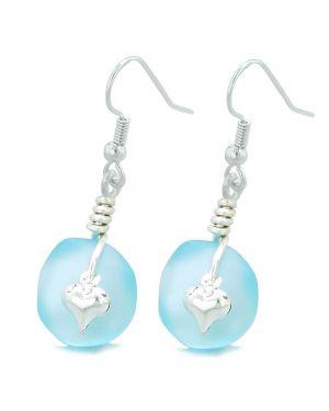 Twisted Twincies Cute Frosted Sea Glass Good Luck Heart Charms Sky Blue Amulet Earrings