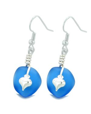 Twisted Twincies Cute Frosted Sea Glass Good Luck Heart Charms Ocean Blue Amulet Earrings