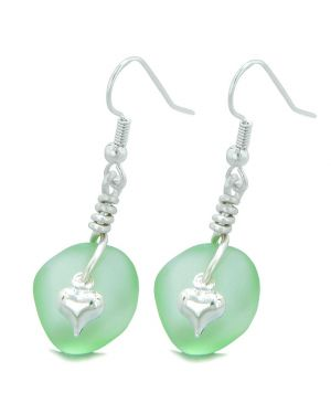 Twisted Twincies Cute Frosted Sea Glass Good Luck Heart Charms Mint Green Amulet Earrings