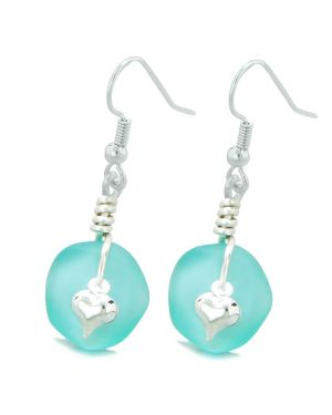 Twisted Twincies Cute Frosted Sea Glass Good Luck Heart Charms Aqua Blue Amulet Earrings