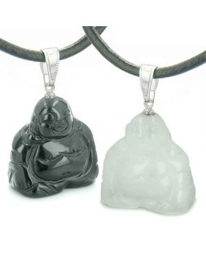 Double Lucky Happy Buddhas Love Couples Best Friends Set Amulets Magic Energy Onyx Jade Necklaces