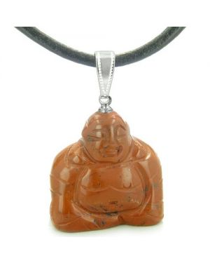 Good Luck Charm Happy Sitting Buddha Amulet Red Jasper Gemstone Believe Pendant Cord Necklace