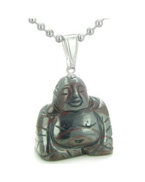 Good Luck Charm Happy Sitting Buddha Amulet Tiger IrGemstone Protection Powers Pendant Necklace