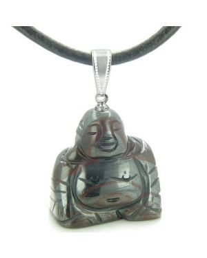 Good Luck Charm Happy Sitting Buddha Amulet Tiger Iron Gemstone Protection Pendant Cord Necklace