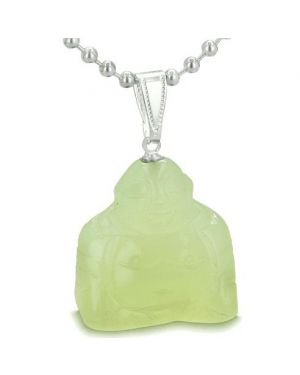 Good Luck Charm Happy Sitting Buddha Amulet New Green Jade Gemstone Protection Pendant Necklace